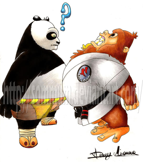 Panda vs Gorilla by Sommum