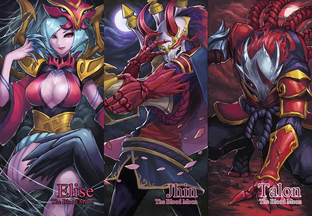 League of Legends Blood Moon Elise,Jhin,Talon by drogod