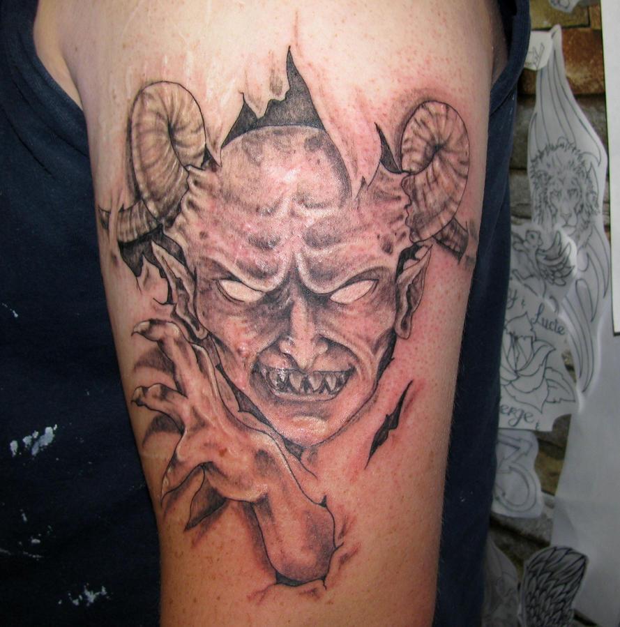 Demon face by flyingants on deviantart for Evil faces tattoos