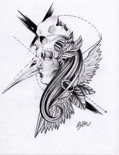 Skull Bird Skull And Lady By Flyingants On Deviantart
