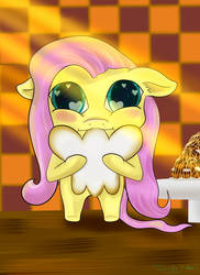 Fluttershy and Doughnut by Tenshineko01