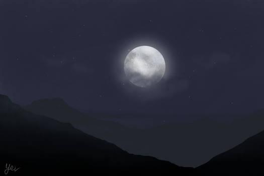 Landscape Study - Hills by Moonlight