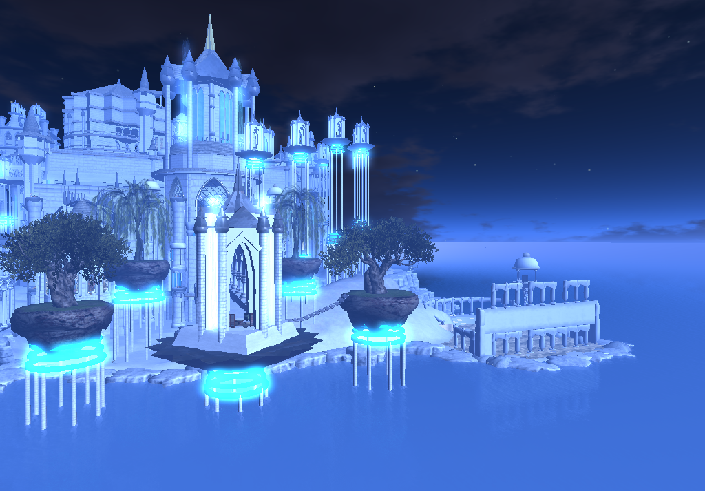 blue castle on the water V by TalieTramontane