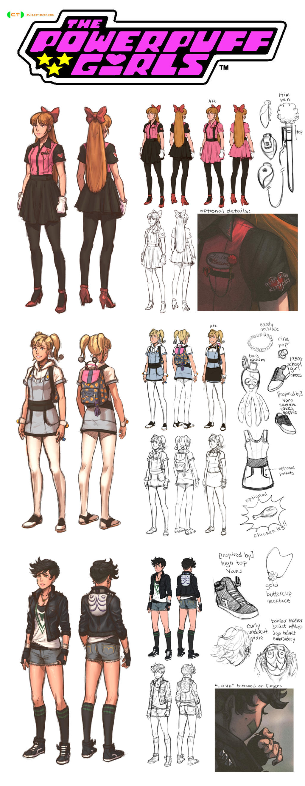 Powerpuff Girls CT character designs FULL by dCTb