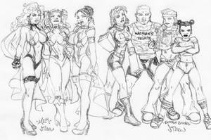 OC Ladies Lineup + abilities by jetcomics