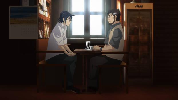 Satoru Fujinuma and Makoto Sawada at a cafe.