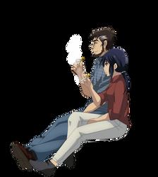 Makoto Sawada and Sachiko Fujinuma Smoking Render