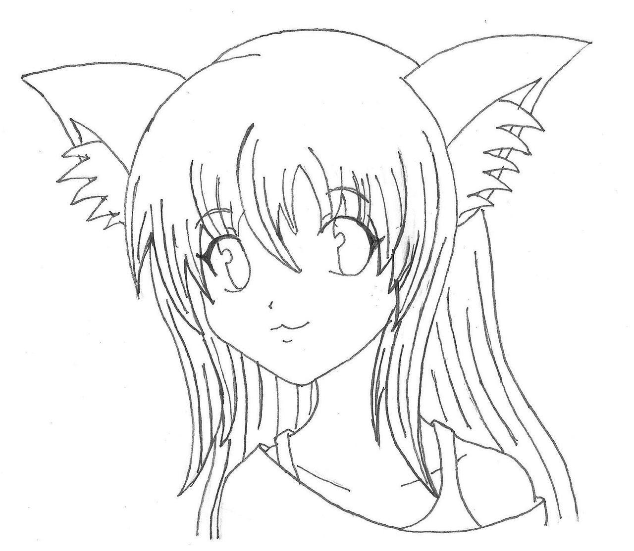 Image Gallery Neko Drawings Anime Neko Coloring Pages Printable