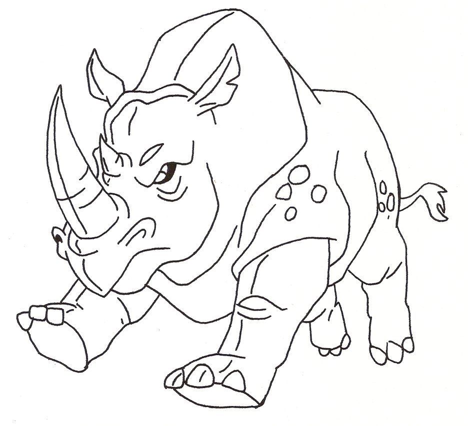 Line Drawing Rhinoceros : Shifter into a rhino by stonegate on deviantart