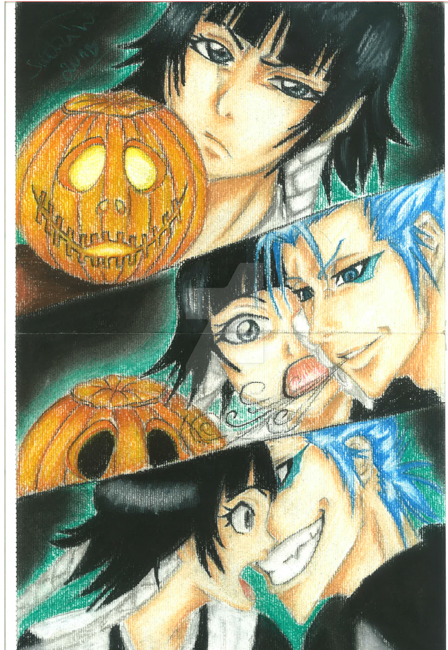 Grimmijow, Soi Fong and the pumpkin by NeoAngeliqueAbyss