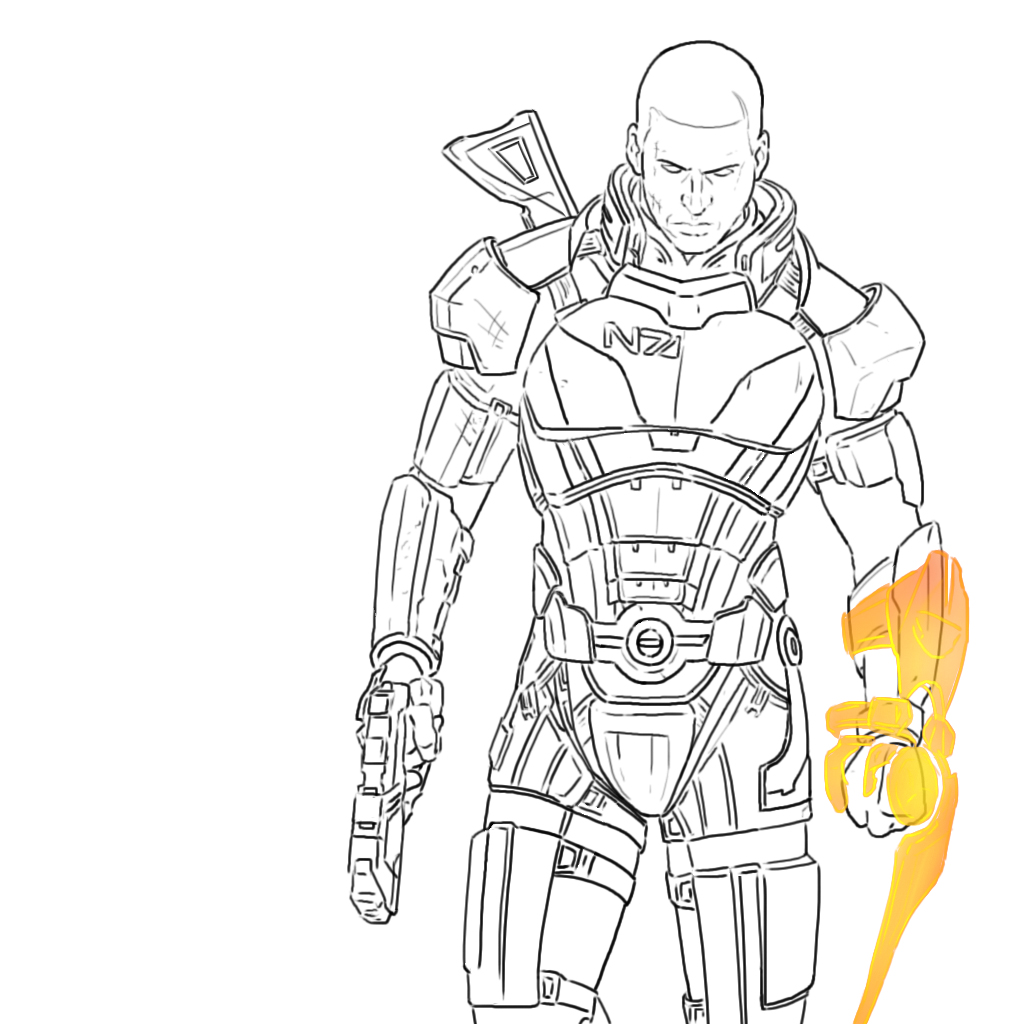 Line Art Effect Photo : Mass effect outlines by herpderp on deviantart