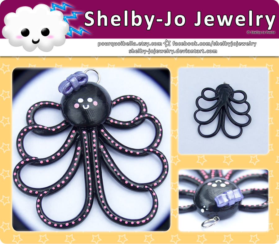 Black Octopus Pendant by Shelby-JoJewelry