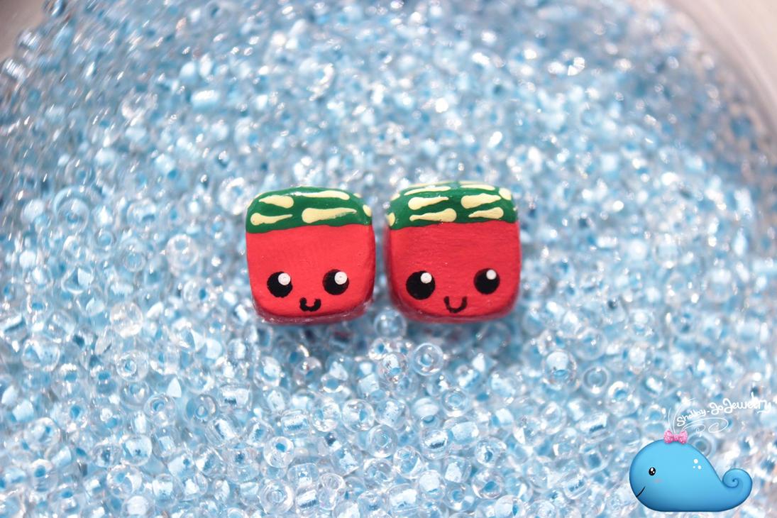 Square Watermelon Earrings by Shelby-JoJewelry