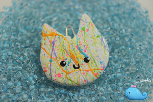 Rainbow Splatter Cat Necklace by NaughtyBirdBoutique