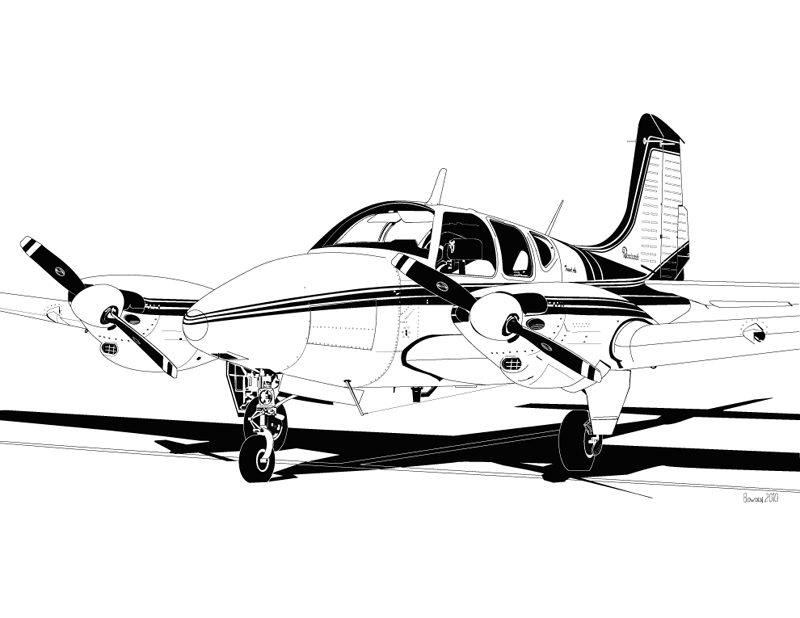 Beechcraft 95 Travel Air by bowdenja