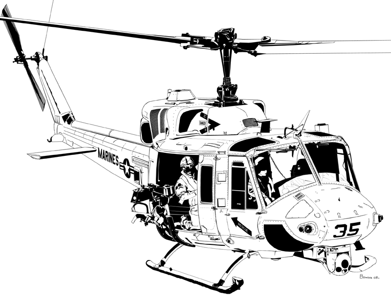 Line Drawing Helicopter : Bell uh n twin huey by bowdenja on deviantart