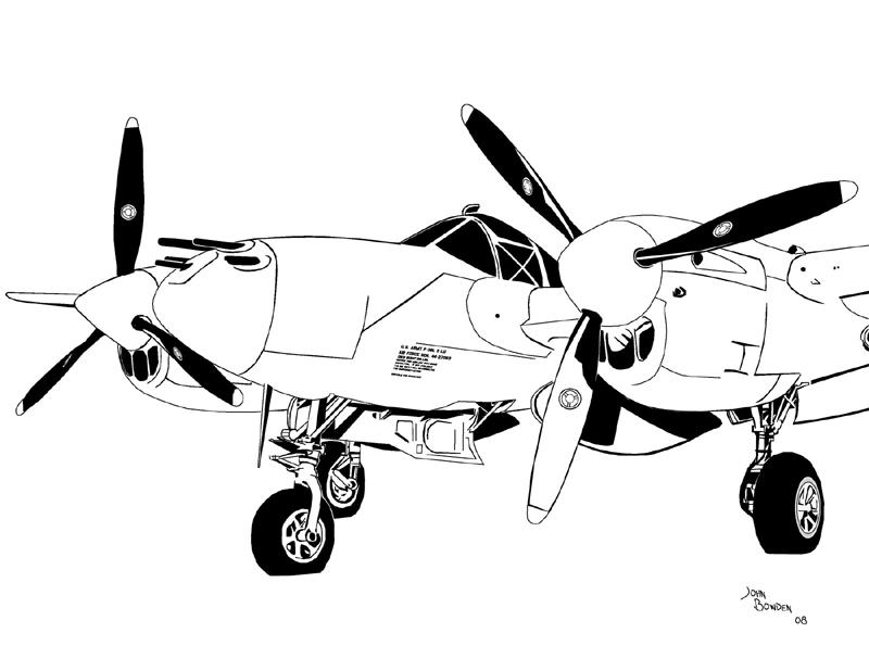 P 38 Airplane Drawing
