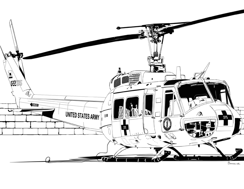 Bell Uh 1 Huey Helicopter Drawing