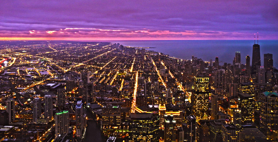 Chicago at sunset by bozonio
