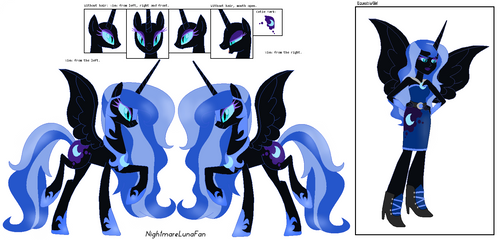 Nightmare Moon Re-design (Ref Sheet) by NightmareLunaFan
