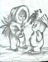 child with snowman by cypris-quynh