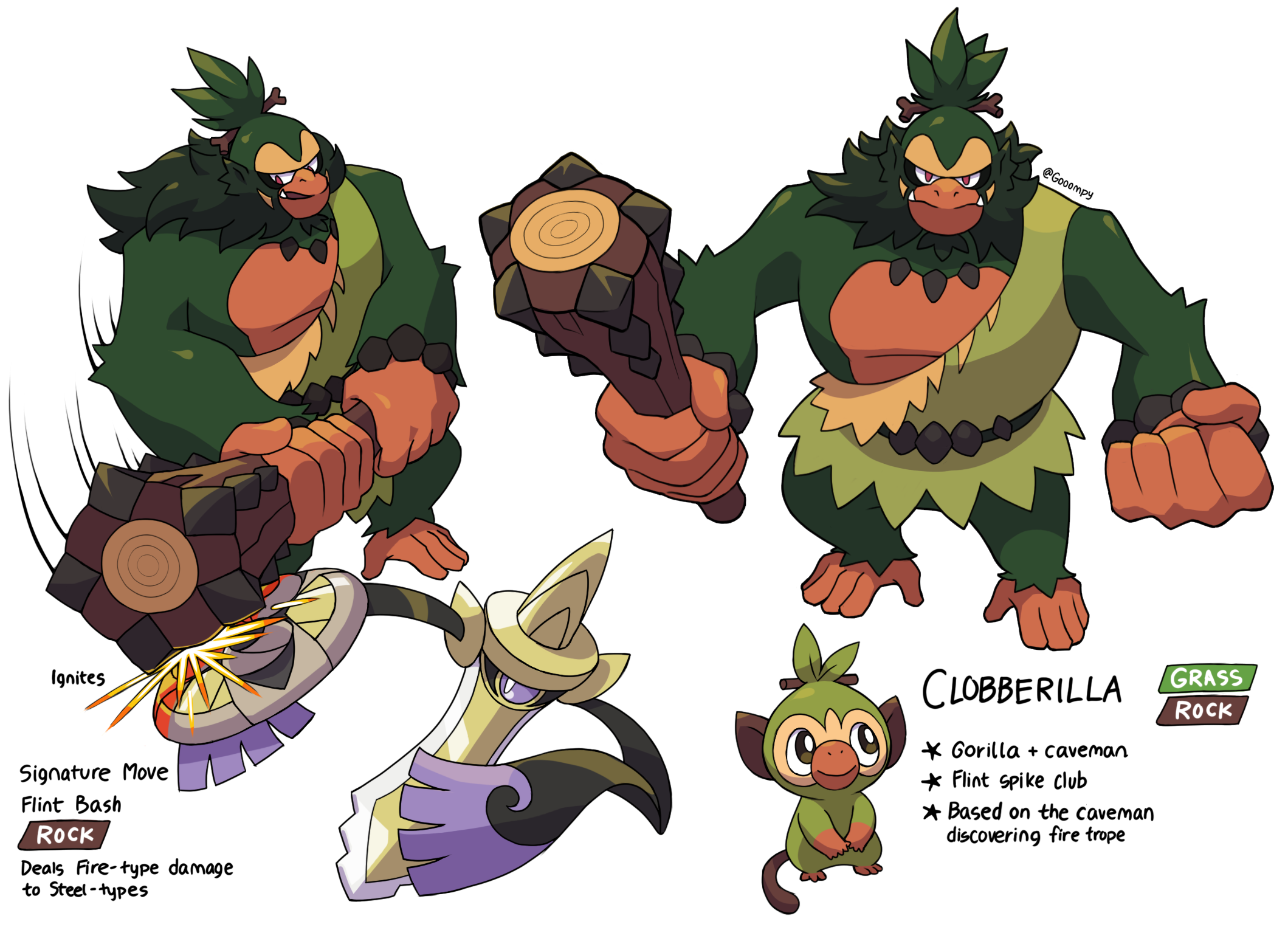 Grookey Evolution Concept Clobberilla By Gooompy On Deviantart Grookey is a grass type pokémon introduced in generation 8. grookey evolution concept clobberilla