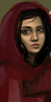 Old- Woman in a Red Cloak
