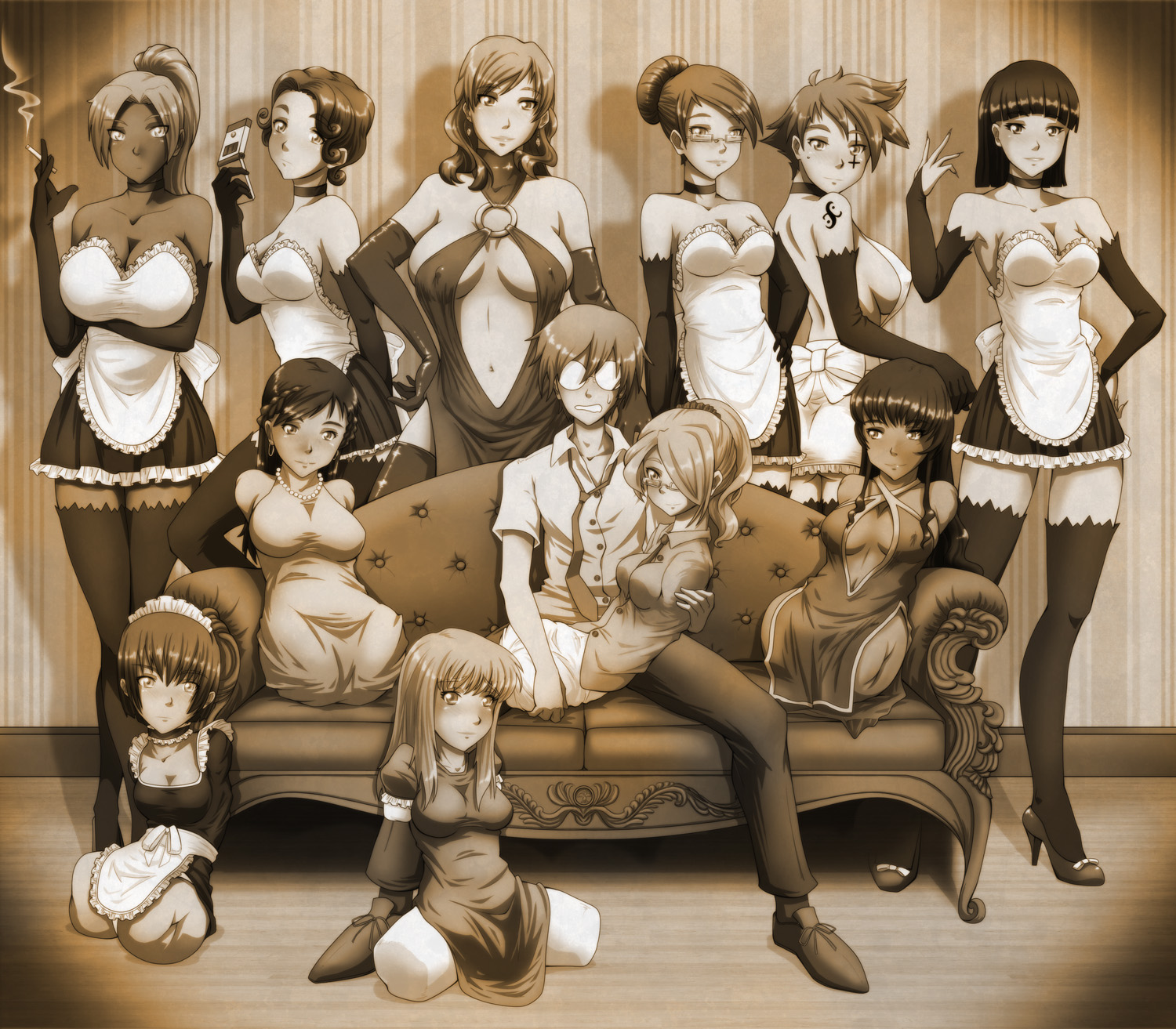 Quad Harem sepia by gamera1985