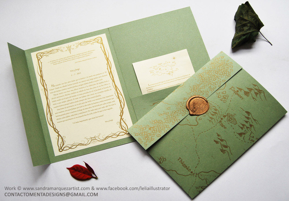 Wedding Card LOTR Green And Gold By MentaDesigns On DeviantArt