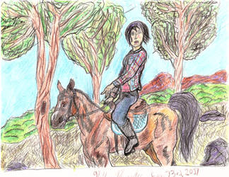 Girl On Horse Sketch by CrappyMSPaintArt