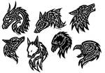 Tattoos, eagle, wolf, dragon