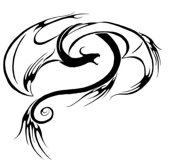 Swirly fire dragon tattoo by MetaSelene