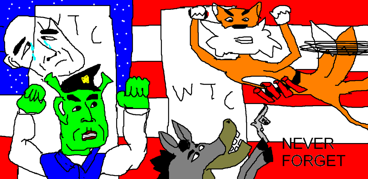 Never forgotten USA pride with shrek and ponies by Paul1920