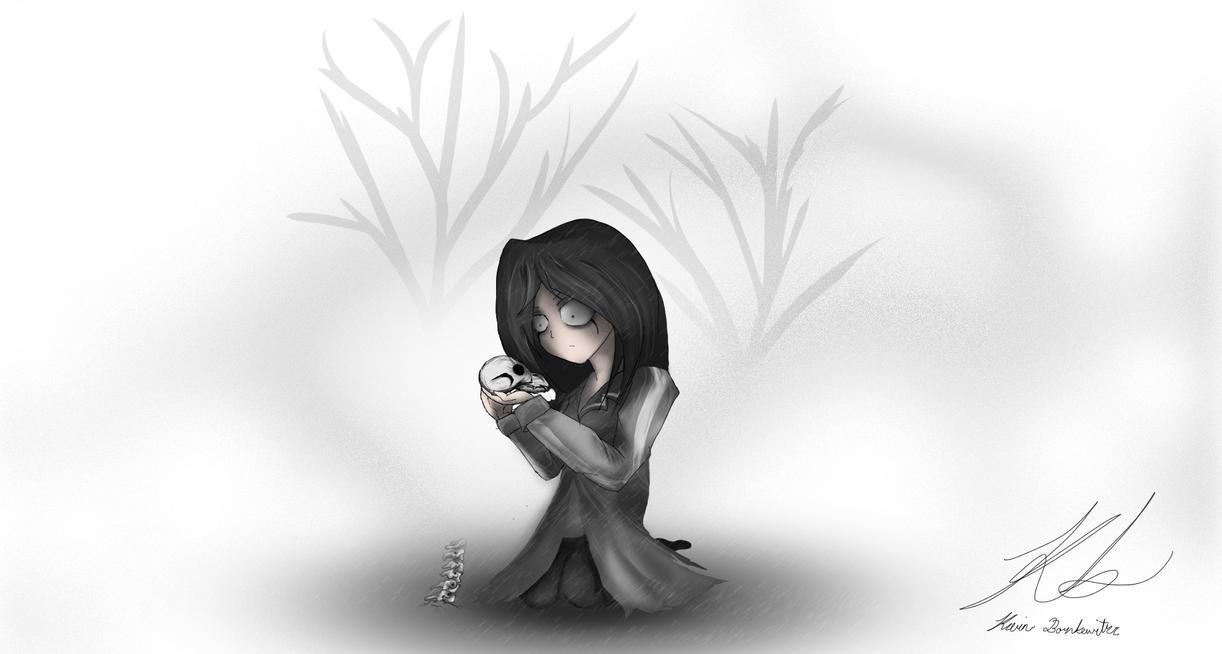 Girl Holding Skull by kiffKewitzz