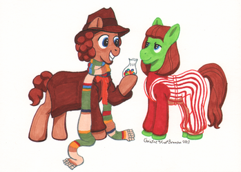 The Fourth Doctor Whooves with Sarah Jane by InkDotThePony