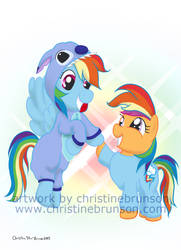 Rainbow Dash and Scootaloo dressup by InkDotThePony