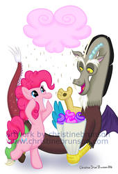 Pinkie Pie and Discord by InkDotThePony