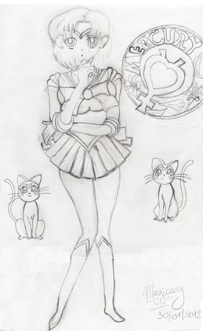 Luna - Sailor Mercury - Artemis - Colorless Sketch by Magicary