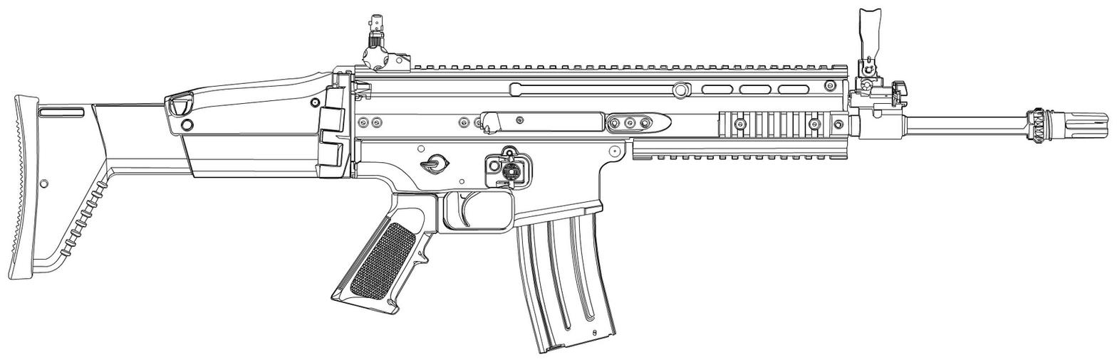 One Line Art Gun : Fn scar l outline by jackroberts on deviantart
