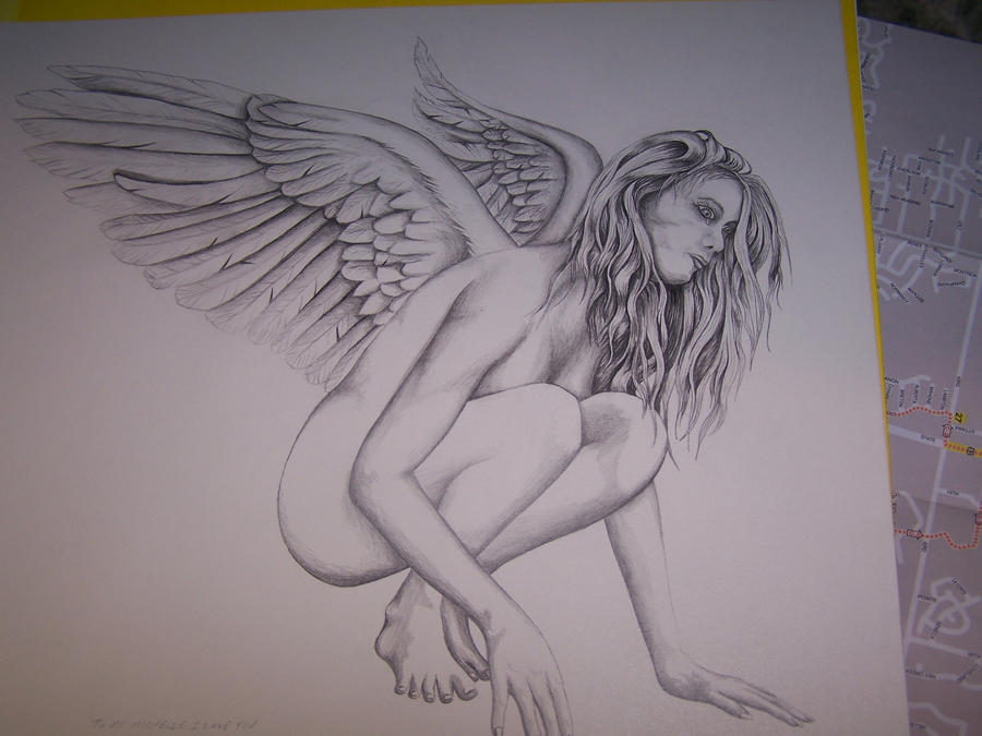 Angel pencil drawing by neversayyy