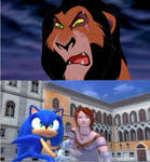 Sonic protects Elise from Scar (Lion King)