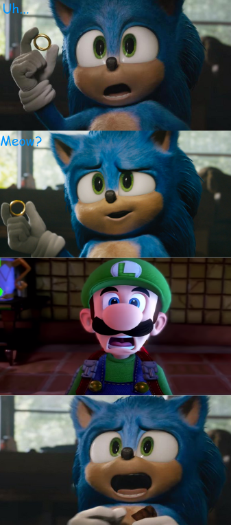 Uh Meow Luigi And Sonic By Alliepeachfan On Deviantart
