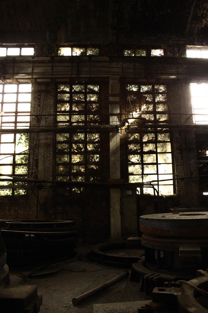 Overgrown factory windows by RUYK
