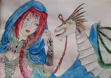 Girl And Her Dragon by Volia-HuntedDrakaina