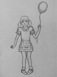 A little girl and a balloon.