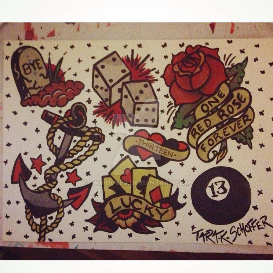 a76a7acd7 Traditional -Sailor Jerry- Style Tattoo Flash by TkWolver on DeviantArt