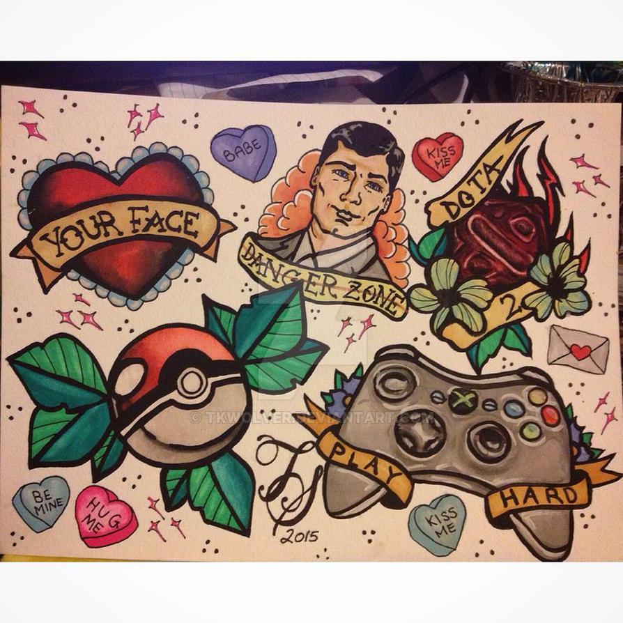 Gaming Custom Tattoo Flash By Tkwolver On Deviantart