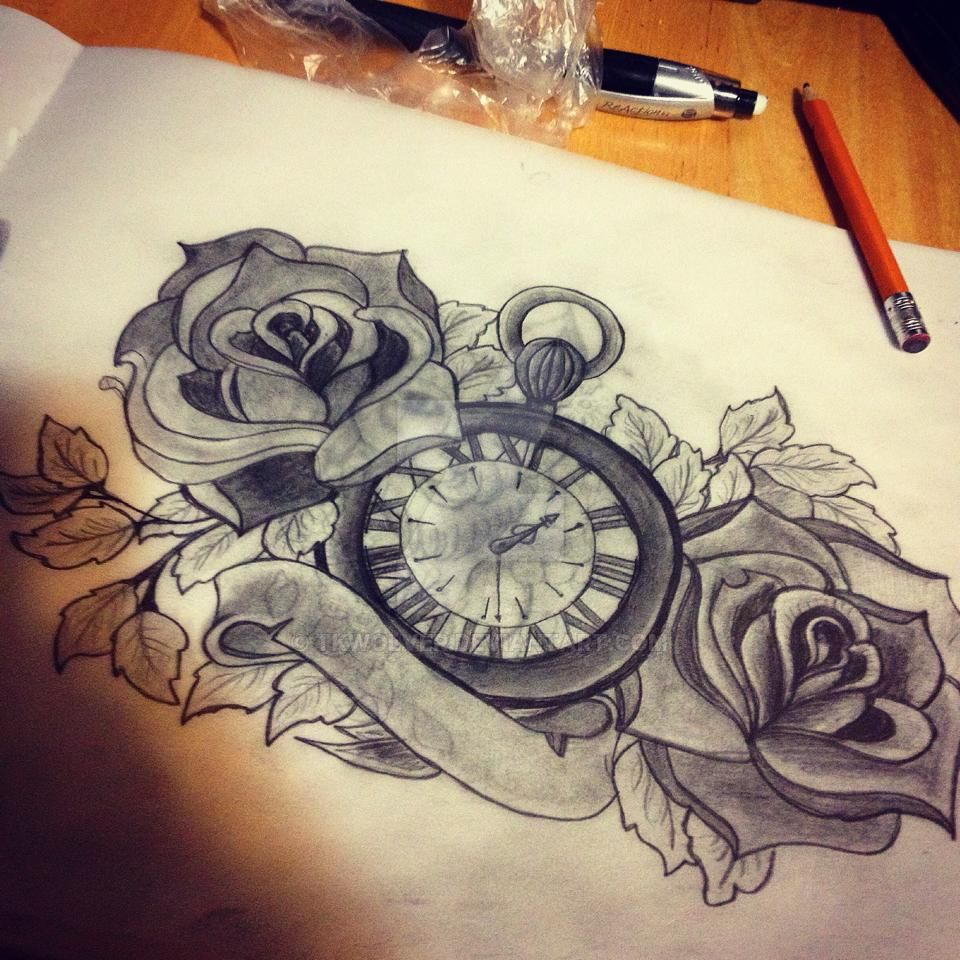 Hand drawn stopwatch tattoo design by tkwolver on deviantart for Stop watch tattoos
