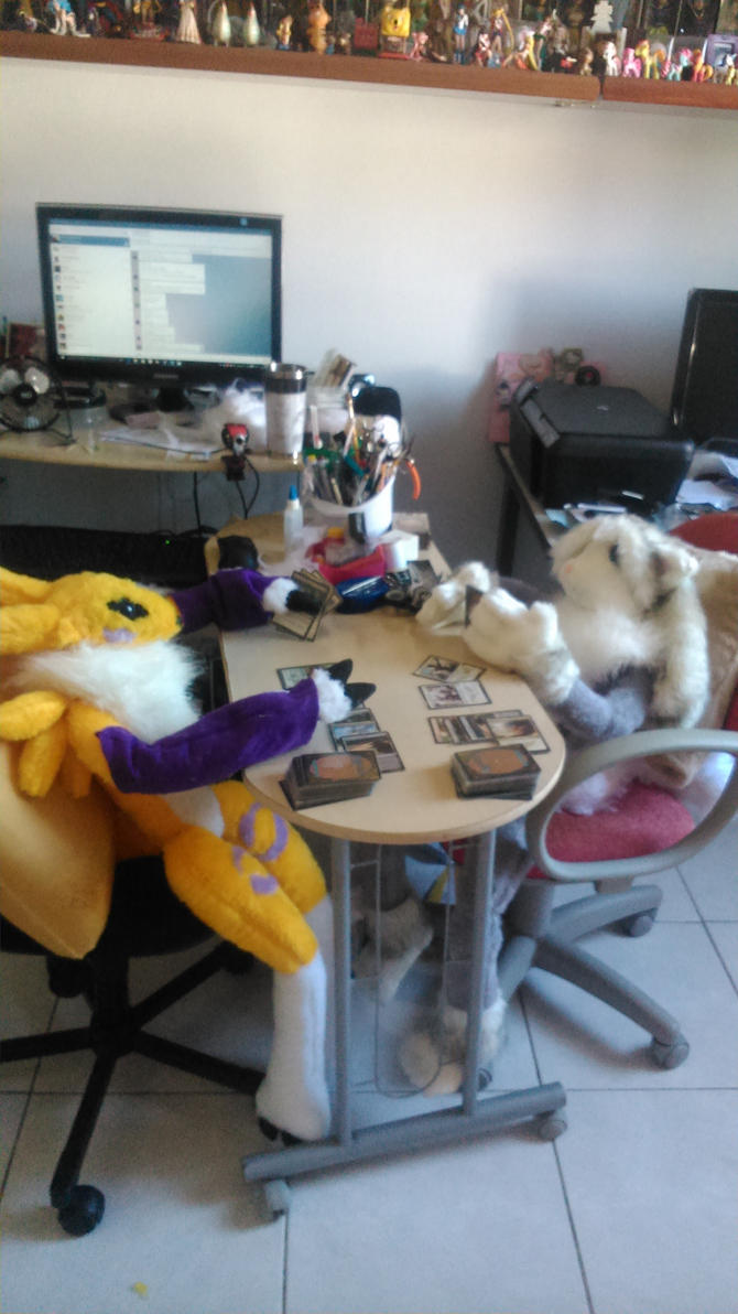 Furiel and Renamon playing MtG by sethzerr