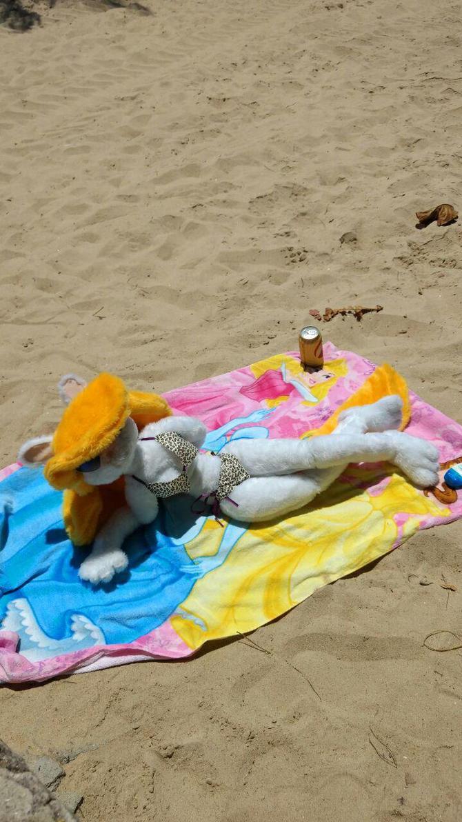 Minerva sunbathing on the beach by sethzerr
